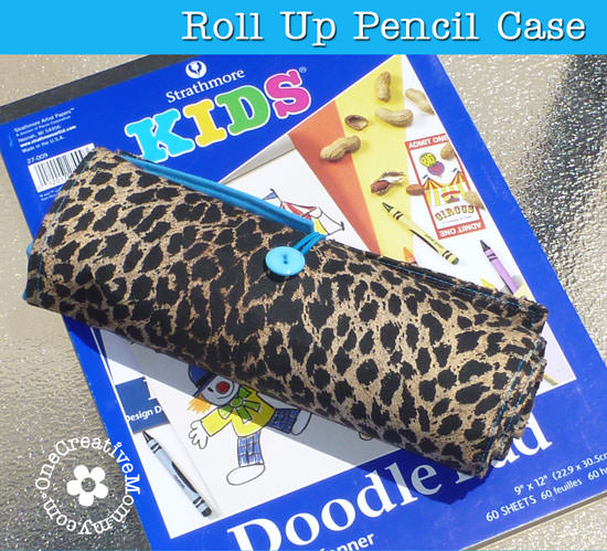 Make these fun Roll Up Pencil Cases from Placemats! A perfect gift to keep kids occupied on the go! {OneCreativeMommy.com}
