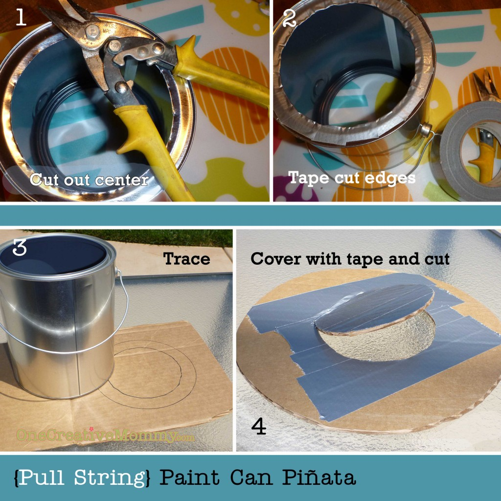 "Pull String Paint Can Pinata from OneCreativeMommy.com {Perfect for little ones at an art-themed party. Every kid gets to ""break"" the piñata at the same time.}"