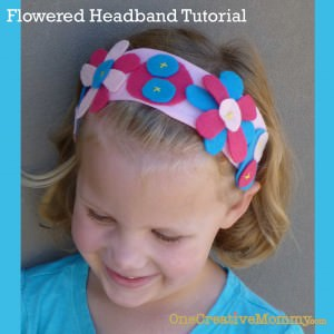 Flowered Headband Tutorial from OneCreativeMommy.com