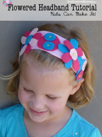Easy Flowered Headband Tutorial from OneCreativeMommy.com {Recycle old t-shirts and felt into these adorable headbands with this simple project to make with your kids!}