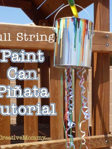 """Pull String Paint Can Pinata from OneCreativeMommy.com {Perfect for little ones at an art-themed party. Every kid gets to """"break"""" the piñata at the same time.} utorial"""