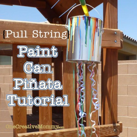 "Pull String Paint Can Pinata from OneCreativeMommy.com {Perfect for little ones at an art-themed party. Every kid gets to ""break"" the piñata at the same time.} utorial"