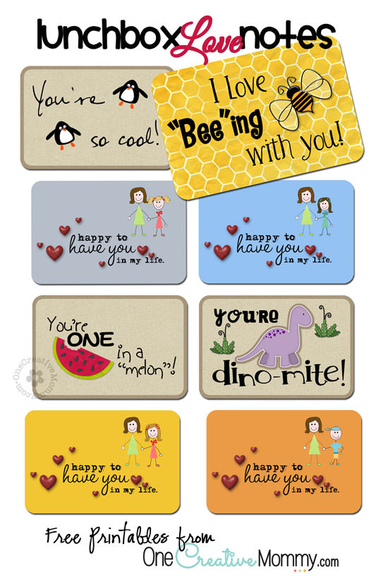 Lunchbox Love Notes - onecreativemommy.com
