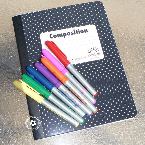 Turn drab into fab with a Composition Notebook Makeover! {Project created by my kid for kids!} OneCreativeMommy.com