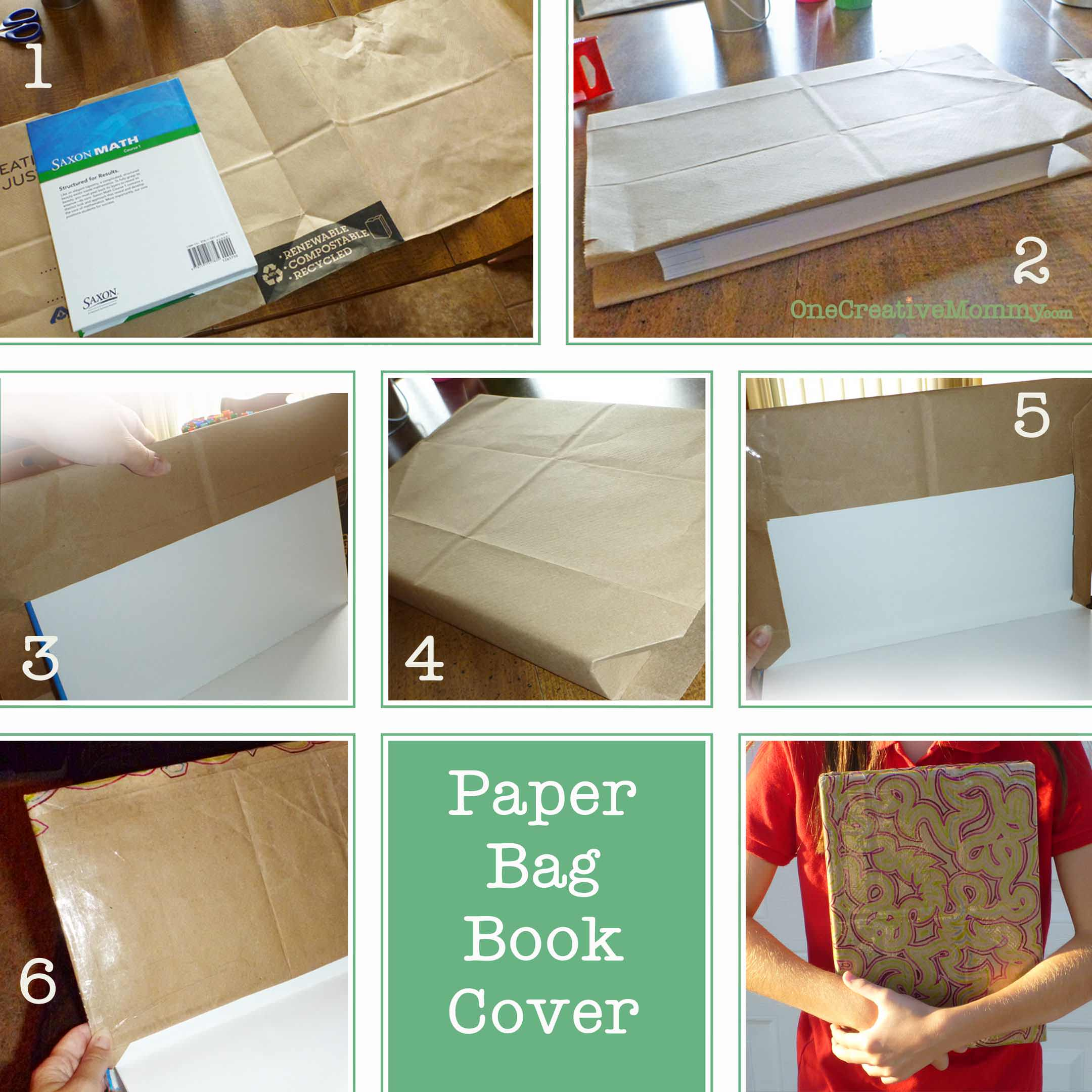 Book Cover From A Paper Bag : Diy paper book cover onecreativemommy