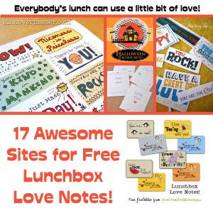 17 Aweseome Sites for Free Lunchbox Love Notes {OneCreativeMommy.com}