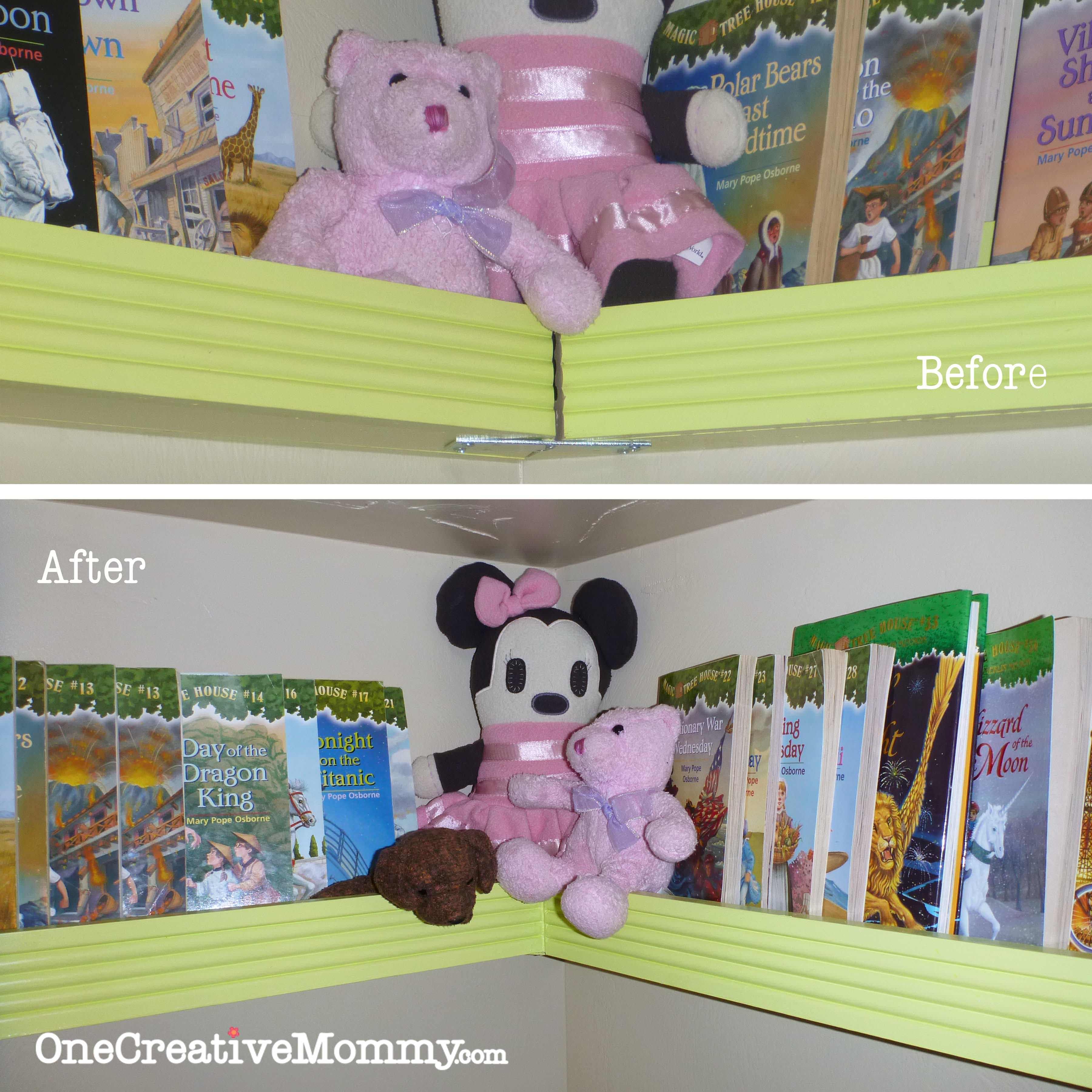 Kids Bed With Bookshelf Diy Pocket Front Facing Book Shelves For Kids Onecreativemommycom