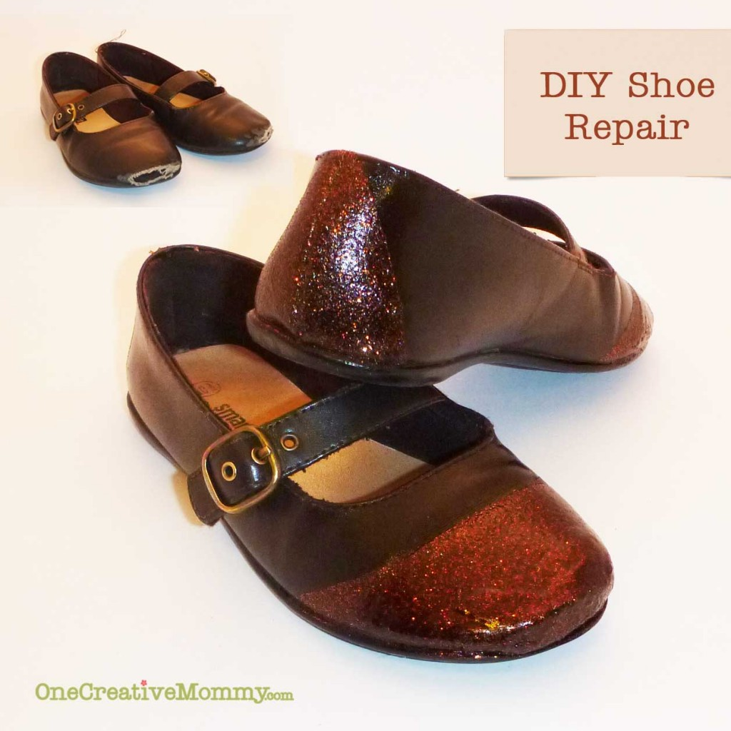 Repairing Scuffed Shoes {OneCreativeMommy.com} Add new life to your kids (or your) shoes! #shoe#repair