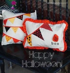 Painted Halloween Pennant Pillow Tutorial from TT&J