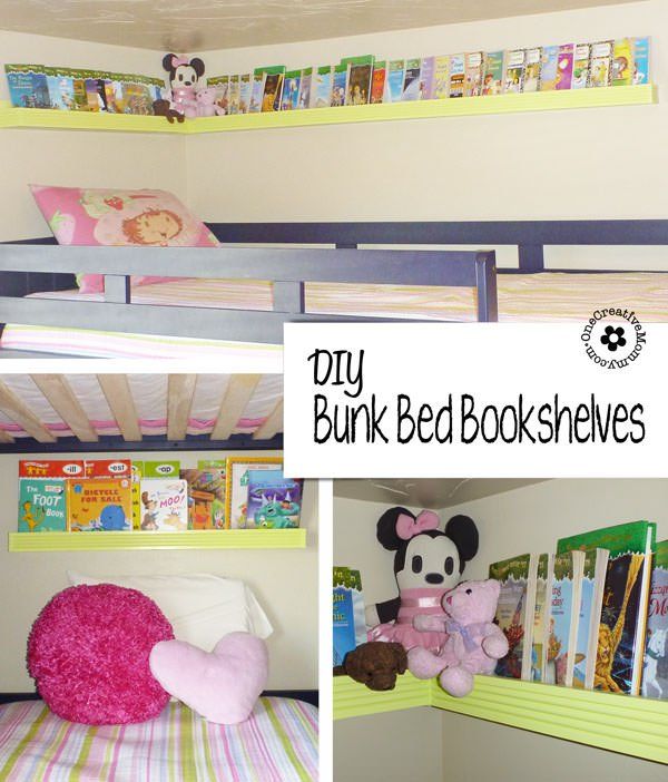 Clean up the mess in your kids' beds with these DIY Forward-Facing Bookshelves {OneCreativeMommy.com} #bookshelvesforkids