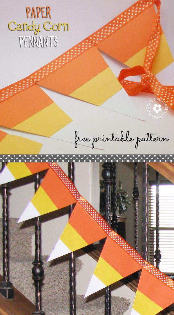 Candy Corn Pennant Tutorial with Free Pattern from OneCreativeMommy.com {Easy Halloween Decor!} AKA Candy Corn Bunting