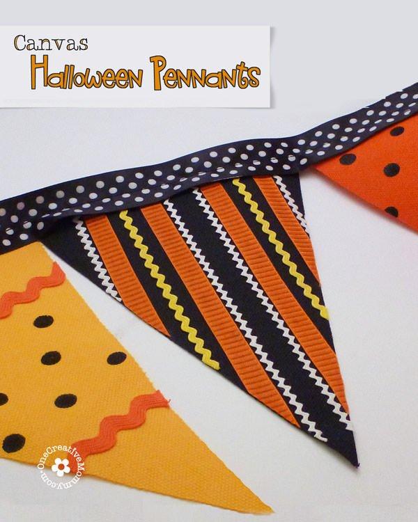 Easy Canvas Halloween Pennant Tutorial {No Sew!} OneCreativeMommy.com #halloweendecor #halloween