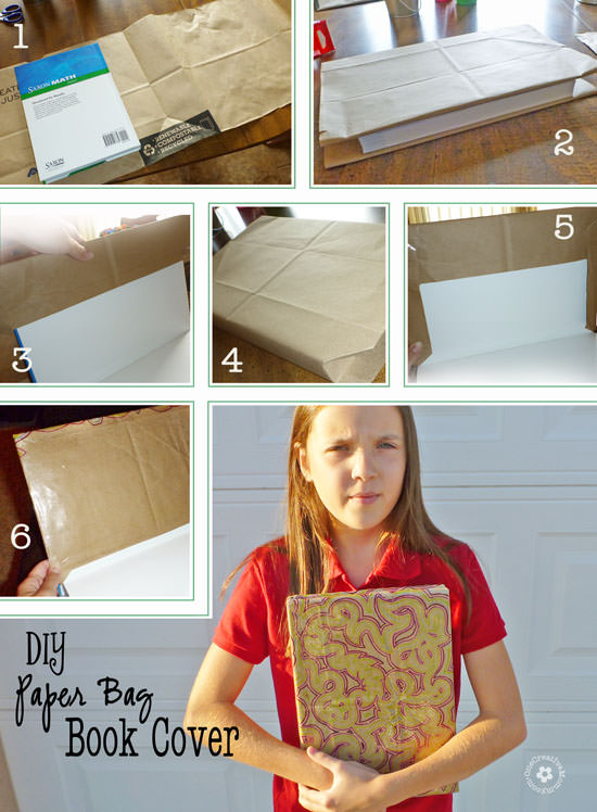 How To Make Book Cover Paper ~ Diy paper book cover onecreativemommy