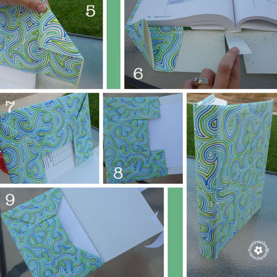 Save money on school supplies with a DIY Paper Book Cover {Plus, they're much cuter than store bought!} OneCreativeMommy.com #backtoschool