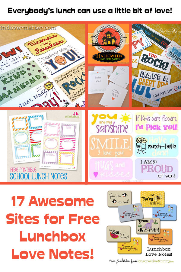 17 Awesome Sites for Free Lunch Box Love Notes! {OneCreativeMommy.com}
