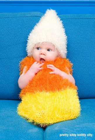 25 Candy Corn Projects to Brighten Your Day--Adorable Candy Corn Crocheted Costume from Pretty Kitty Knitty City