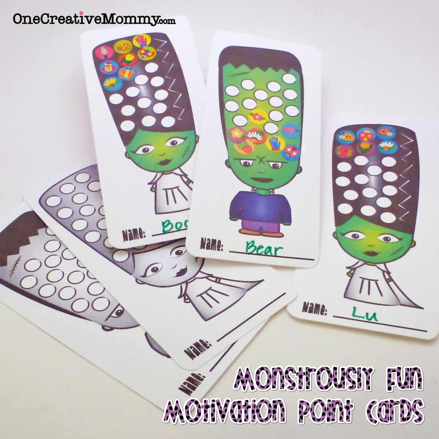 Monstrously Fun Halloween Point Cards and Bookmarks