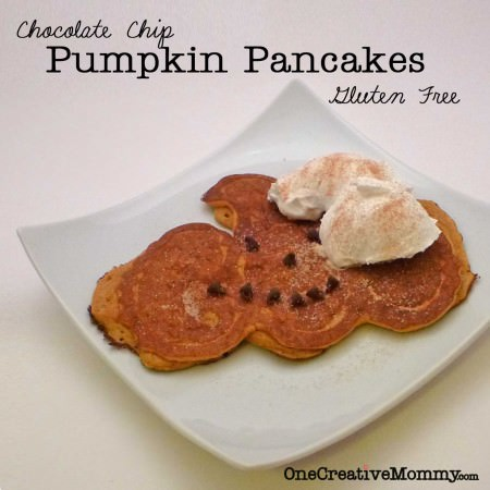 Pumpkin Choc Chip Pancakes with Whipped Cream