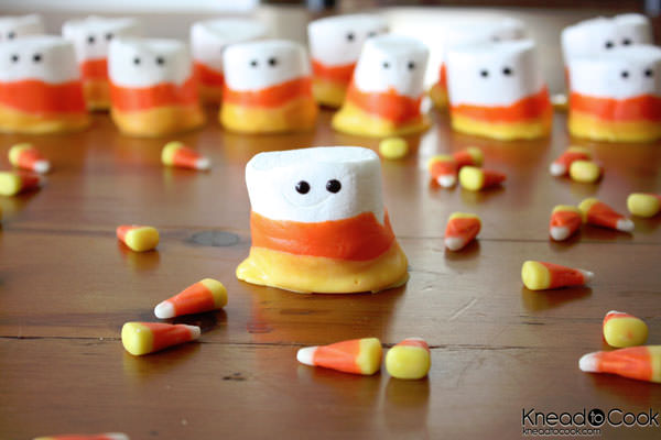 Candy Corn Marshmallow People from Knead to Cook