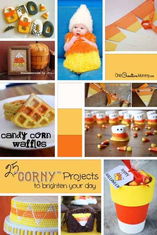 25 Corny Projects to Brighten Your Day {OneCreativeMommy.com} #candycorn #recipes #crafts