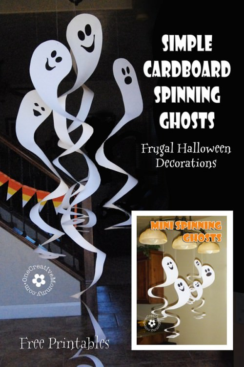picture regarding Free Printable Halloween Crafts known as Frugal Decorating for Halloween Cardboard Spinning Ghosts