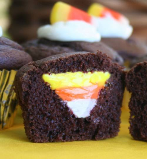 25 Candy Corn Projects to Brighten Your Day--Candy Corn Surprise Cupcakes
