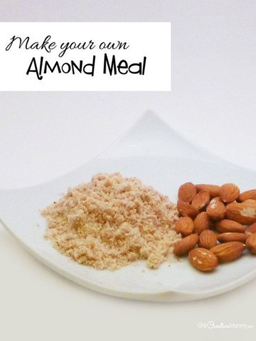 DIY Almond Meal--Almond flour and meal is sooo expensive! Save money and grind your own. It's so yummy! {OneCreativeMommy.com}