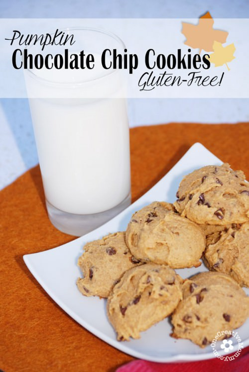 Best Gluten Free Pumpkin Chocolate Chip Cookies! {I took these to school, and the kids gobbled them up!} OneCreativeMommy.com #glutenfree #pumpkincookies
