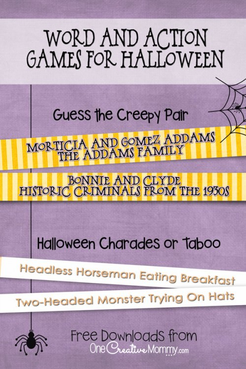 Halloween Party Games! Download two free Halloween Word and Action Games from OneCreativeMommy.com!