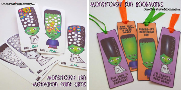 Monstrously Fun Book Marks and Point Cards {Free Printables from OneCreativeMommy.com} #halloween #printable