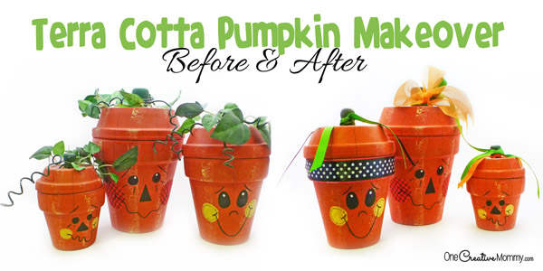 Cute but outdated terra cotta pumpkins get a fresh new look with a quick and easy makeover! Love this fall decor! {OneCreativeMommy.com}
