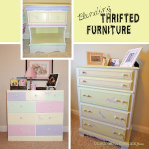 Blending Thrifted Furniture With Color--A coat of paint, matching knobs and fun details help blend mismatched furniture