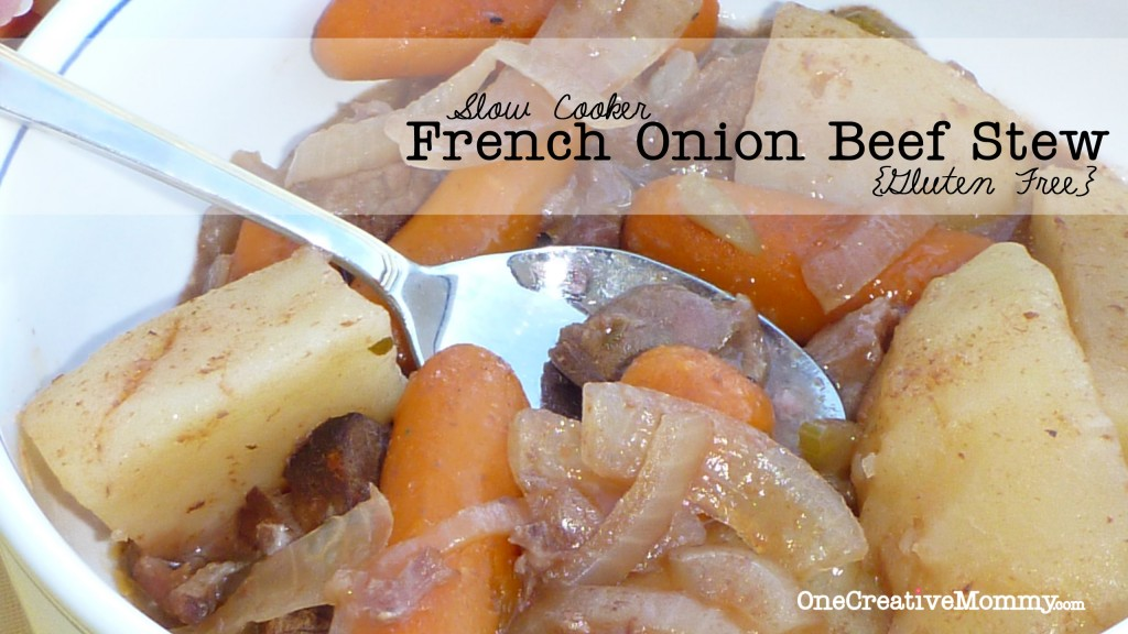 Slow Cooker French Onion Beef Stew (GF) The secret ingredient is V8 juice! #beef #crockpot