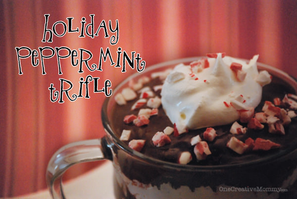 Chocolate Peppermint Triffle from OneCreativeMommy.com--Candy Cane and Andes Peppermint Crunch Baking Bits inside!