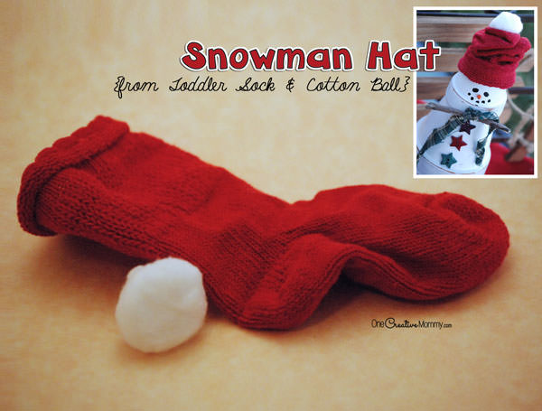 Easy Terra Cotta Snowman Tutorial from OneCreativeMommy.com--you'll be done in no time! Sock Hat Instructions