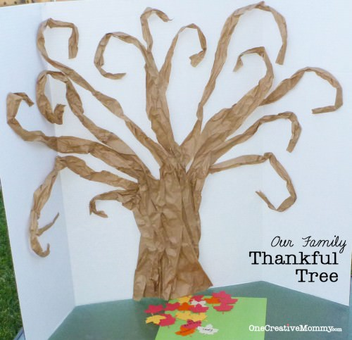 Our Thankful Tree--A new family tradition {This easy tree is made from free packing material!}