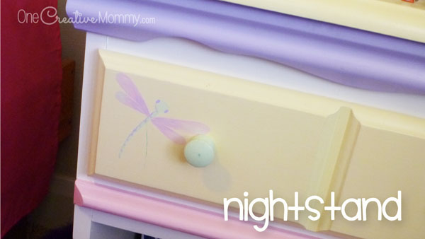 Create this whimsical look for a little girl's room by blending mismatched thrifted furniture with paint. {OneCreativeMommy.com} Bedroom Decor Idea and Painting Tips