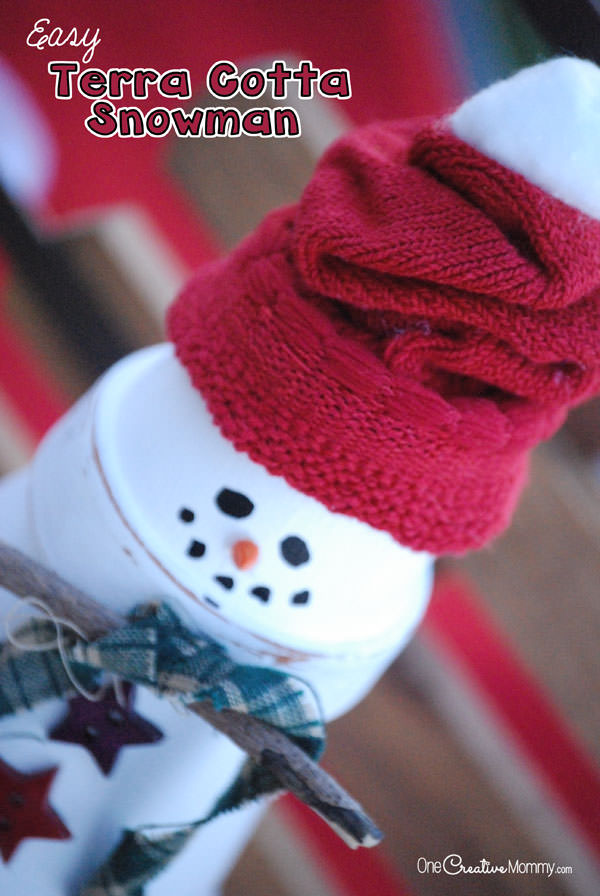 Easy Terra Cotta Snowman Tutorial from OneCreativeMommy.com--you'll be done in no time!