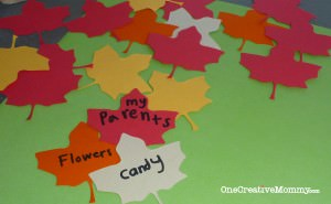 Thankful Tree Leaf Samples {OneCreativeMommy.com}