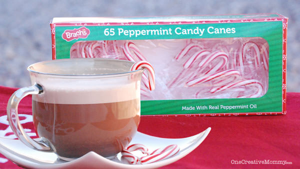 DIY Peppermint Hot Chocolate from OneCreativeMommy.com {Made with Gluten-Free Brachs Candy Canes--A fun and easy treat for a cold day}