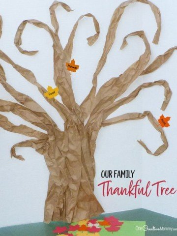 Our Thankful Tree--A new family tradition {This easy tree is made from free packing material!} {OneCreativeMommy.com} #thanksgiving #familytraditions #thankful #familytree