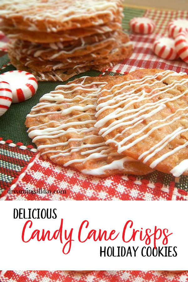 Delicious and airy Candy Cane Crisps recipe -- just in time for Christmas {OneCreativeMommy.com} #peppermint #cookies #cookierecipe #christmas