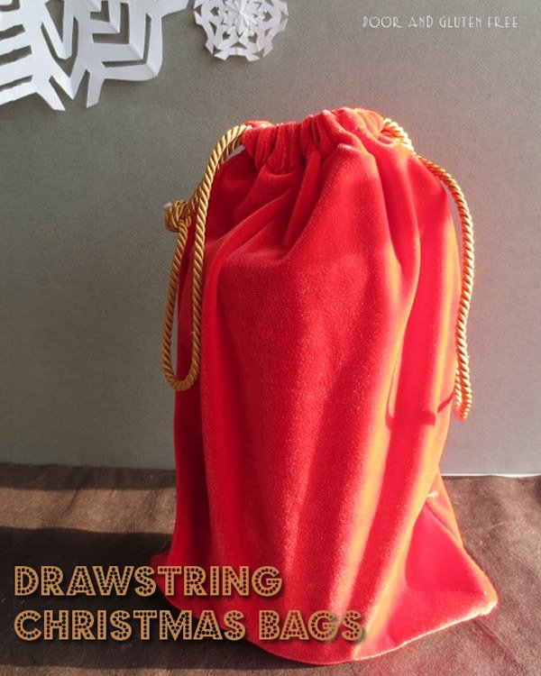 Save money each Christmas and be Eco-Friendly with gorgeous drawstring bags that can be reused every year. {Poor and Gluten Free guest post on OneCreativeMommy.com}