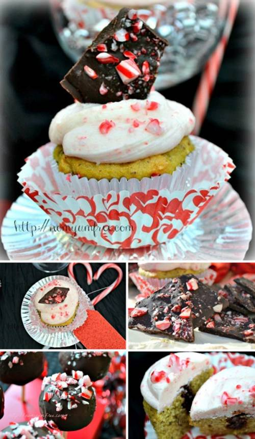 Peppermint Candy Cane Bark is the star in these Gluten Free Peppermint Cupcakes filled with Peppermint Ganache {Yummy Christmas Dessert Recipe for the holidays!}
