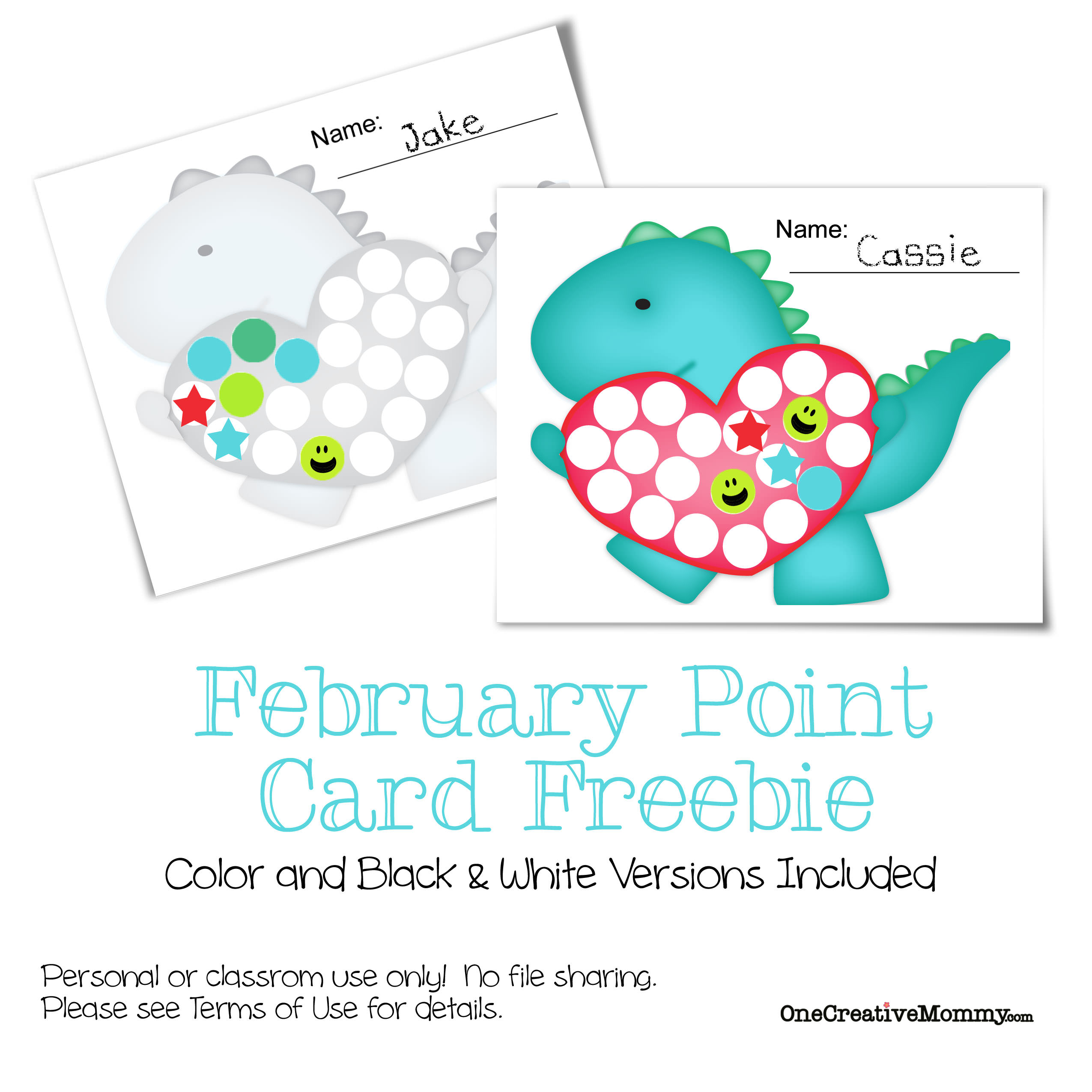 February Point Card Freebie {A great way to keep track of goals, behavior, or completed work--1 full point card = $1, a prize, or whatever you want!} #motivate #kids