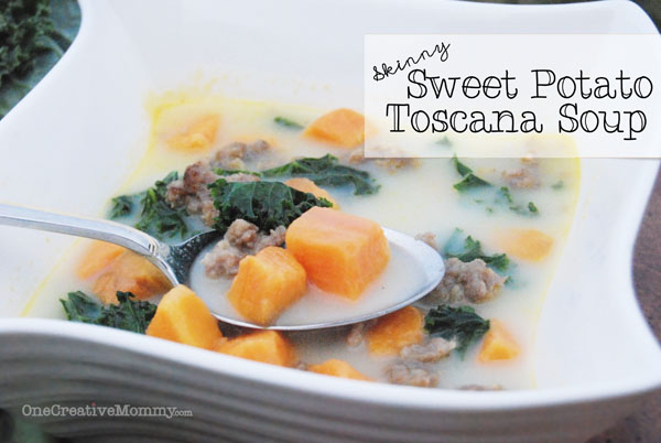 Skinny Sweet Potato Toscana Soup -- If you like Zuppa Toscana, check out this lighter version with a sweet potato twist. Tasty with Kale, Swiss Chard, or Spinach {OneCreativeMommy.com} Gluten Free Soup Recipe
