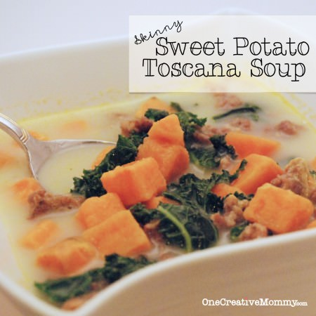 Skinny Sweet Potato Toscana Soup -- If you like Zuppa Toscana, check out this lighter version with a sweet potato twist. {Tasty with Kale, Swiss Chard, or Spinach} #soup #sweet #potato