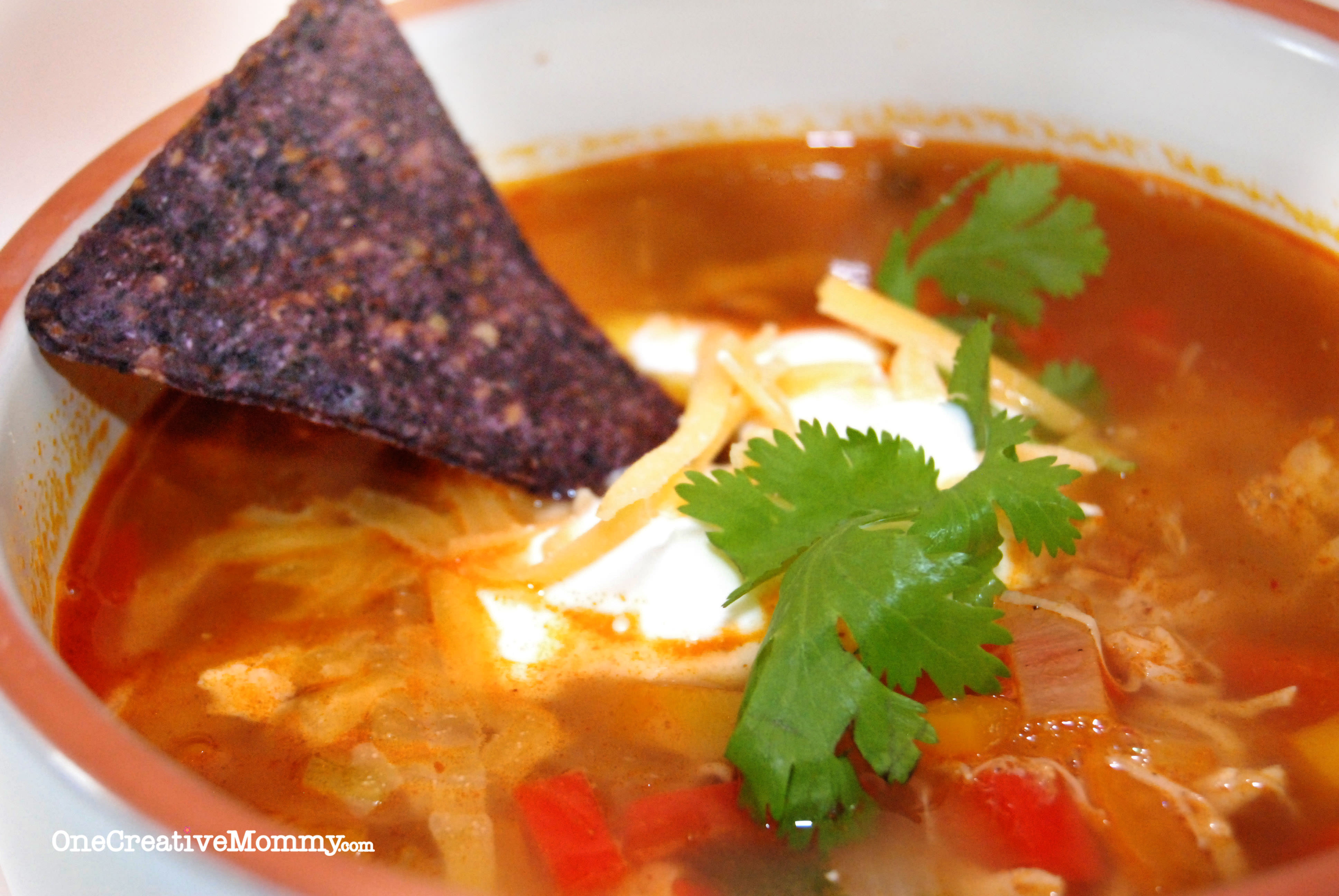 ... Easy Busy Day Chicken Fajita Soup. Soo yummy! {OneCreativeMommy.com