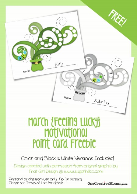 #Motivational Point Cards for #Kids {Feeling Lucky March #Freebie} #St. Patrick's Day #Printable from OneCreativeMommy.com