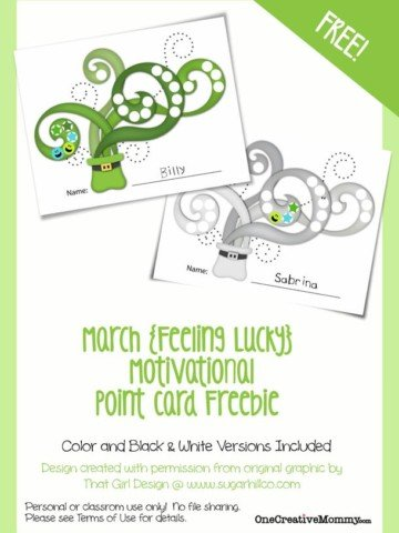 Motivational Point Cards for Kids {Feeling Lucky March Freebie} St. Patrick's Day Printable from OneCreativeMommy.com
